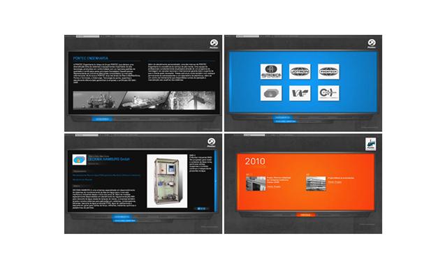 Páginas-internas-de-cada-uma-das-empresas,-com-cores-distintas